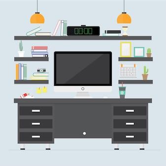 Büroeinrichtung. detailzimmerinnenräume mit möbeln vector flache illustration