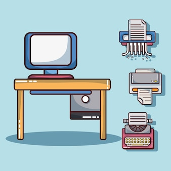 Büroelemente zur firmeninformations-strategievektorillustration