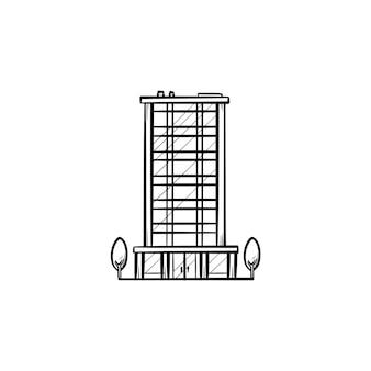 Bürogebäude mit bäumen hand gezeichneten umriss-doodle-symbol. geschäftsimmobilien und urbanes architekturkonzept
