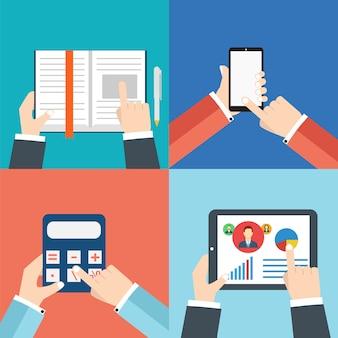 Bürohände mit: tablet oder tablet-pc, taschenrechner, buch und smartphone