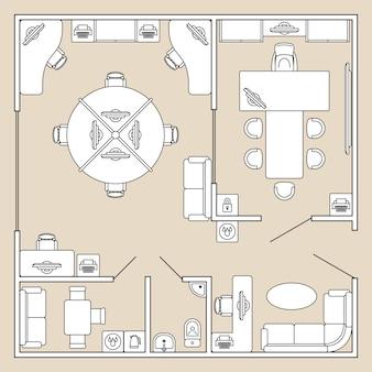 Büroinnenraum, draufsichtarchitekturplan-vektorillustration