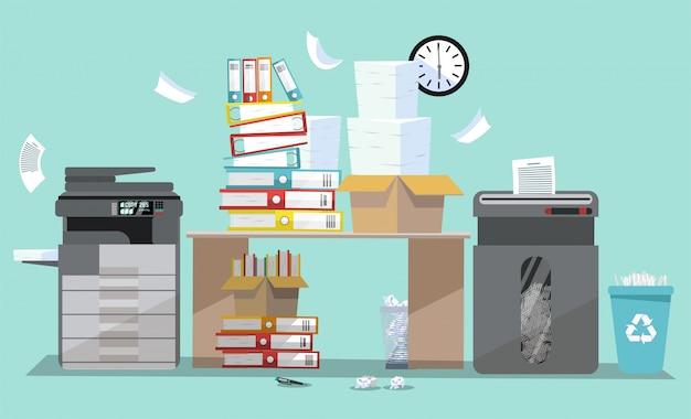 Büroinnenraum mit multifunktionsdruckerscanner und -reißwolf. kopierer mit fliegendem papier.