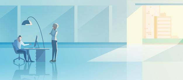 Büroinnenraum-open-space-flaches design-vektor-illustration. bemannen sie das arbeiten mit desktop-computer mit boss-kunden-client-stellung.