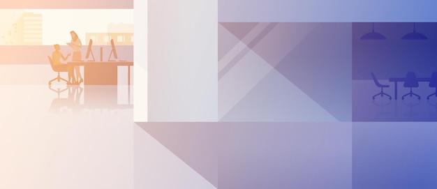 Büroinnenraum-open-space-flaches design-vektor-illustration. frau sitzend mit desktop-computer mit boss-kunden-client-stellung arbeiten. mitarbeiter sprechen treffen.