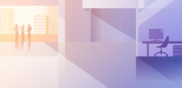 Büroinnenraum-open-space-flaches design-vektor-illustration. geschäftsleute, die im modernen konferenzsaal des konferenzraums sprechen geschäftsleute und geschäftsfrau silhouette in der nähe eines großen fensters