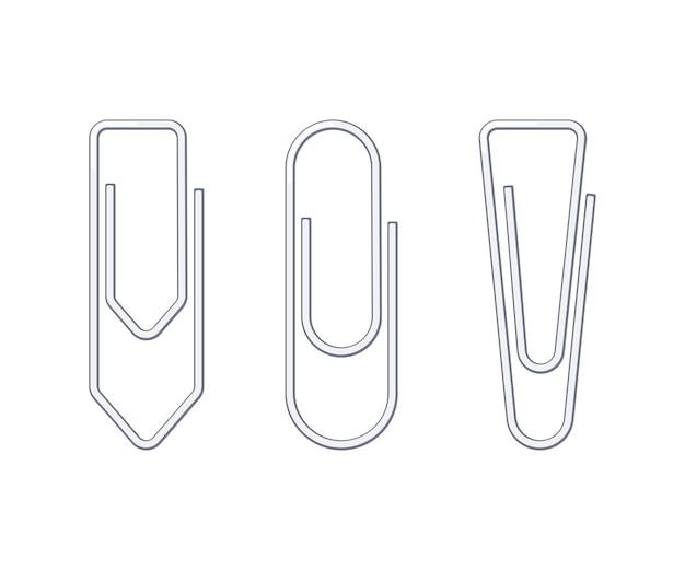 Büroklammern aus metalldraht in verschiedenen formen. sammlung von schul- und bürobedarf. flache vektorillustration lokalisiert auf weißem hintergrund