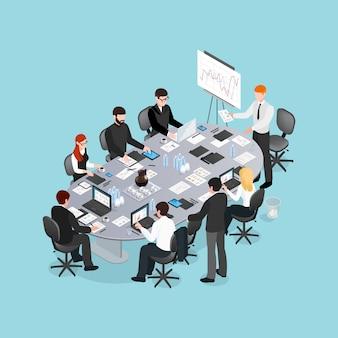 Bürokonferenz isometrische gestaltung