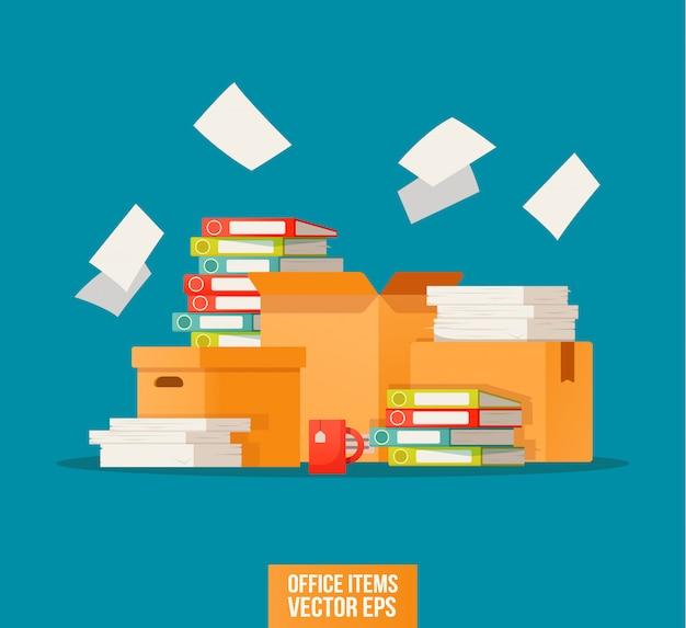 Bürokratie, papierkram, büroikone. arbeiten mit dem archivdruck.