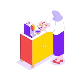 Büroküche mit kaffeemaschine und frau, die mit heißem kaffee und donuts isometrische illustration brechen wird