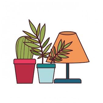 Bürolampe mit zimmerpflanze
