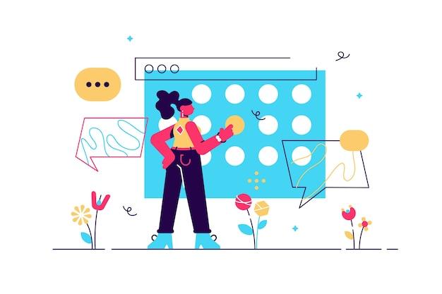 Büroleben junge managerin, die ein projekt in einem digitalen kalender plant organisation von arbeitsprozessen und fristen