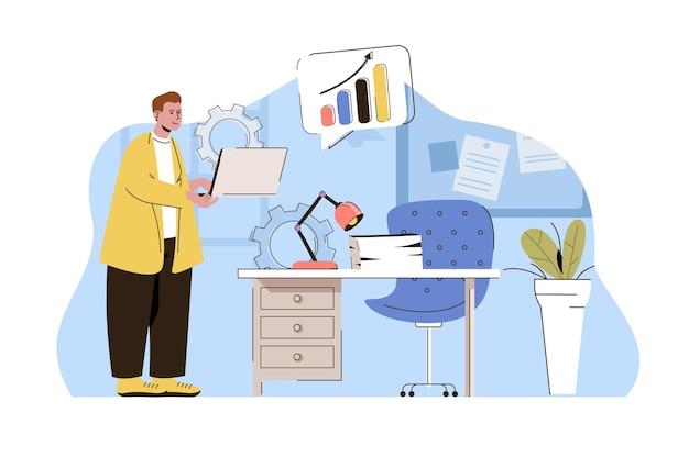 Bürolebenskonzept männlicher manager, der arbeitsaufgaben am arbeitsplatz durchführt