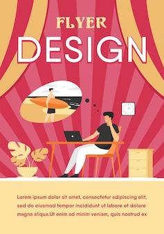Büroleiter träumt von urlaub auf see flache illustration. karikaturgeschäftsperson, die sich während des jobs entspannt und über das surfen nachdenkt. flyer vorlage
