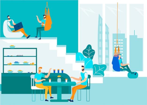 Büroleute, die coworking-raum sprechen und teilen