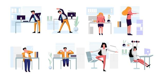 Büroleute praktizieren aufwärmen, yoga, augenübungen. diverse mitarbeiter, die sich während der pausen strecken und trainieren, um das vektor-illustrationsset des bürosyndroms isoliert auf weiß zu verhindern
