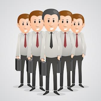 Büromänner mit kofferkunst. vektor-illustration