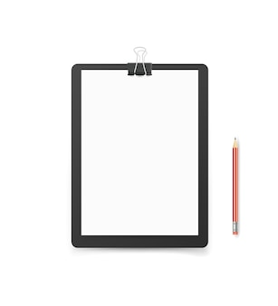 Büromappe mit papierformat a4 und bleistift. vektormodell. identitätsvorlage