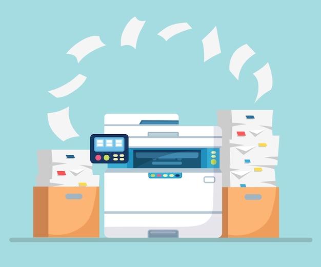 Büromaschine mit papierillustration