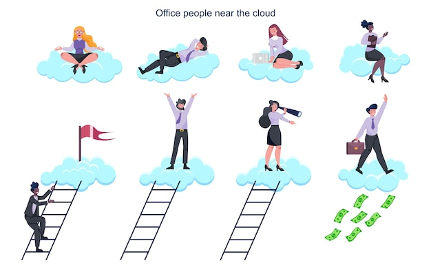 Büromitarbeiter in der cloud. dateninformationsaustausch, cloud-technologie-konzept. idee moderner digitaler technologie und informationsschutz.