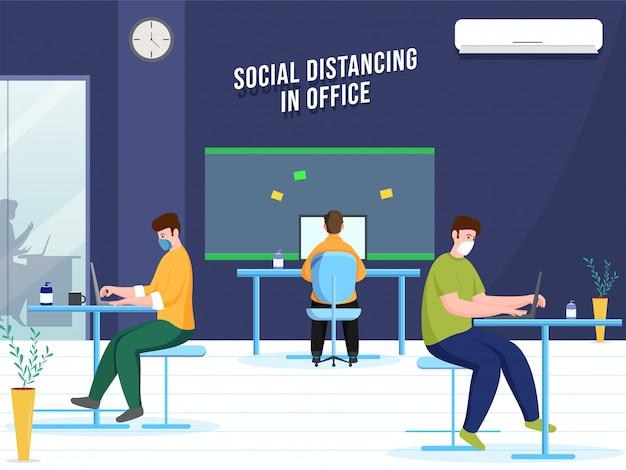 Büromitarbeiter tragen eine schutzmaske und arbeiten an einem anderen arbeitsplatz, um coronavirus vorzubeugen und soziale distanz zu wahren.