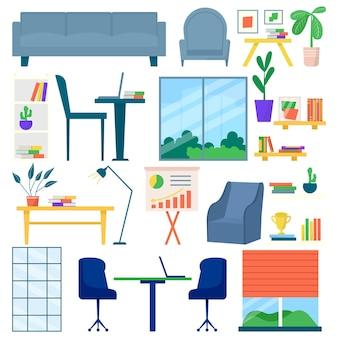 Büromöbel-set, vektor-illustration. tischdesign, sessel, moderner schreibtisch für den arbeitsraum, isoliert auf weiß. sofa, lampe