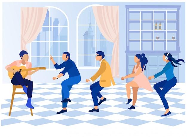 Büroparty mit tanzenden und gitarristen