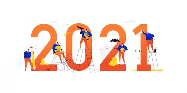 Büropersonal bereitet sich auf das neue jahr 2021 vor. geschäftsleute von charakteren bereiten sich auf den urlaub vor. zusammenfassung des ausgehenden jahres.