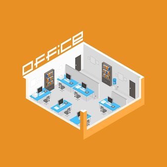 Büroraum es entwicklung kunst. vektor-illustration Premium Vektoren