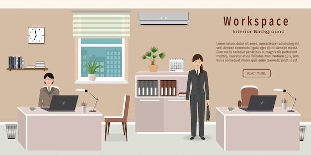 Bürorauminnenraum einschließlich zwei arbeitsbereiche und weibliche angestellte.