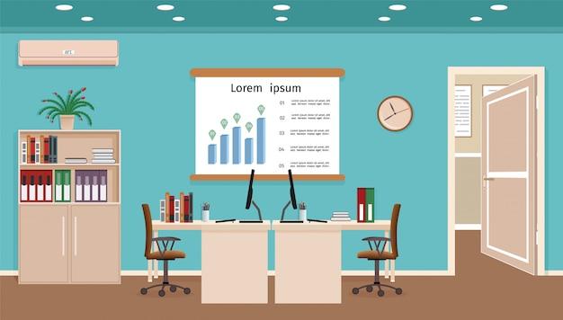 Bürorauminnenraum mit zwei arbeitsbereichen arbeitsplatzorganisation im geschäftslokal arbeitsschrankdesign mit möbeln