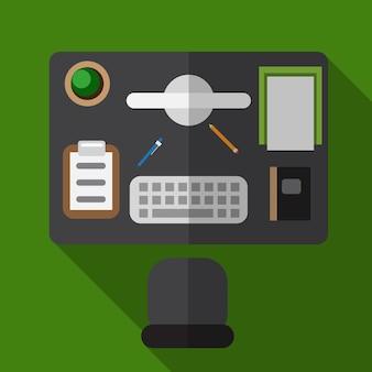 Büroschreibtisch flachbild symbol isoliert vektor-zeichen-symbol