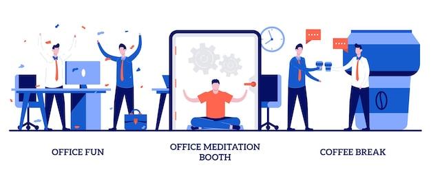 Bürospaß, meditationskabine, kaffeepausenkonzept mit winzigen leuten. stressmanagement am arbeitsplatz. wohlbefinden der mitarbeiter, teambuilding-aktivität, ruheraum, yoga-pause-metapher.