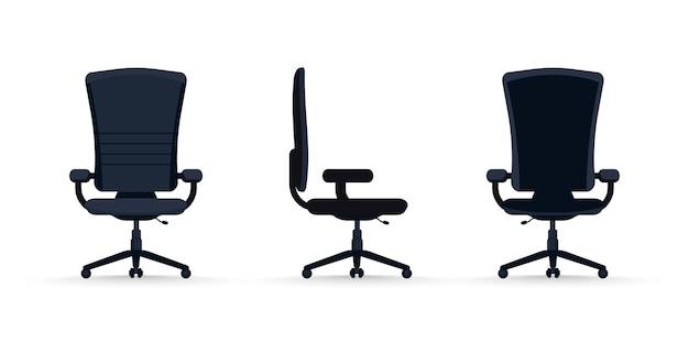 Bürostuhl aus verschiedenen blickwinkeln bürostuhl in 3 positionenwir stellen ein