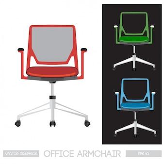 Bürostuhl, drei farben