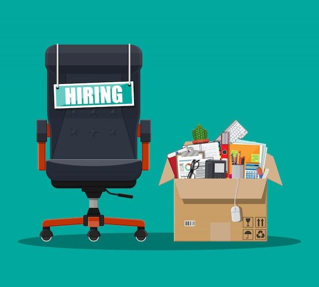 Bürostuhl, freie stelle, box mit büro itmes