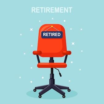 Bürostuhl mit schild im ruhestand. geschäftseinstellung, rekrutierungskonzept. freier sitz für arbeitnehmer, arbeiter