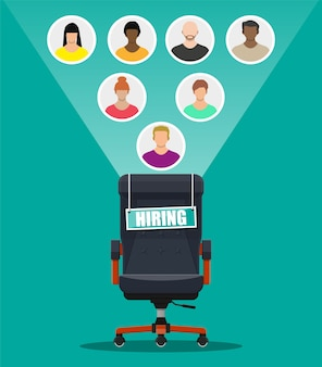Bürostuhl und zeichen vakanz. einstellung und rekrutierung. personalmanagement-konzept, suche nach professionellem personal, arbeit. richtiger lebenslauf gefunden.
