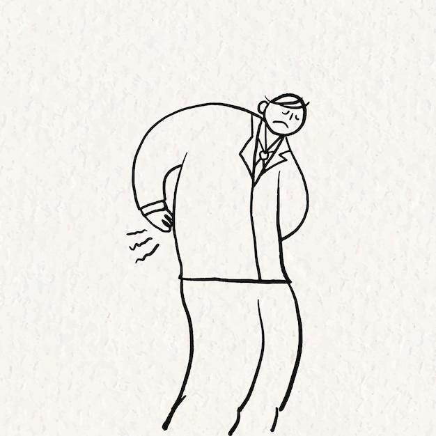 Bürosyndrom-gekritzelvektor, gezeichneter charakter der rückenschmerzen hand