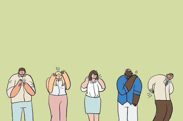 Bürosyndrom-gekritzelvektor, handgezeichneter charakter