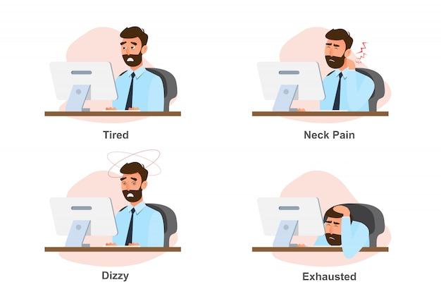 Bürosyndrom, geschäftsmannkrankheit von der harten arbeit