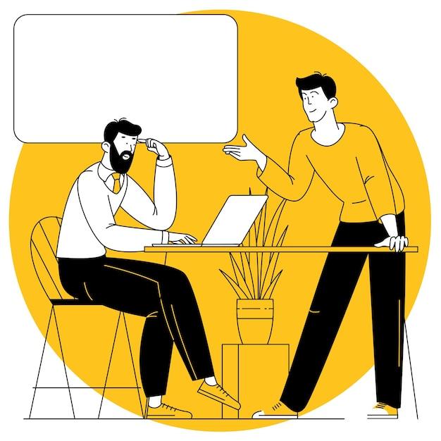 Büroszene männer, die an geschäftstreffen teilnehmen