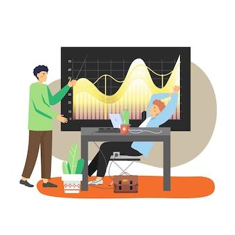 Büroszene mit modernem arbeitsplatz, zwei geschäftsmannkollegen, die diagramm, flache illustration analysieren
