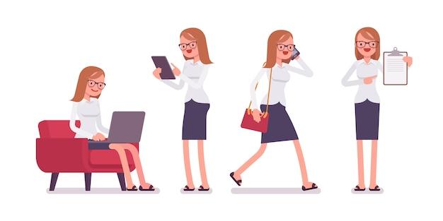 Büroszenen mit beschäftigtem und entspanntem jungem glücklichem weiblichem sekretär