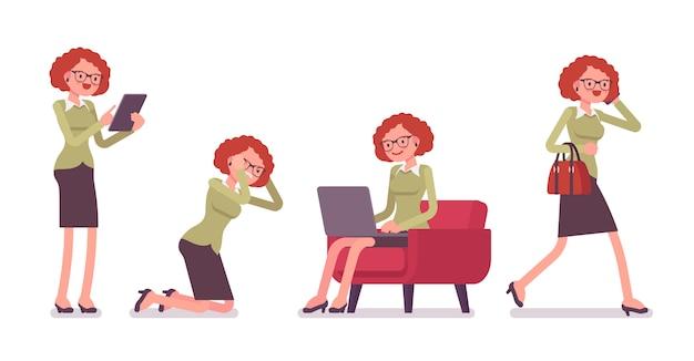 Büroszenen mit beschäftigtem weiblichem büroangestellter