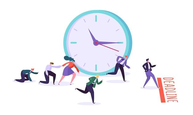 Bürotermin und wettbewerb für geschäftscharaktere. zeitmanagement auf dem weg zum erfolg.
