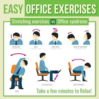 Büroübungen mit geschäftsmanncharakter. entspannen sie sich übung, infografik gesundheit übung, mann kopf drehen übung. infografik der vektorillustration
