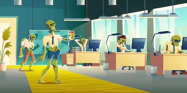 Bürozombies an der arbeitskarikatur-vektorillustration