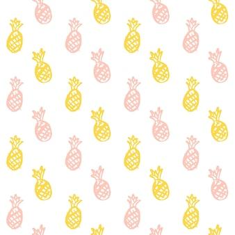 Bürsten sie ananas nahtloses muster. vektor-illustration von hand gezeichneten farben-frucht-hintergrund.