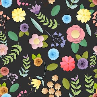 Büttenpapierblumenmuster nahtlos lokalisiert auf schwarzem hintergrund, dekorative verschönerung.