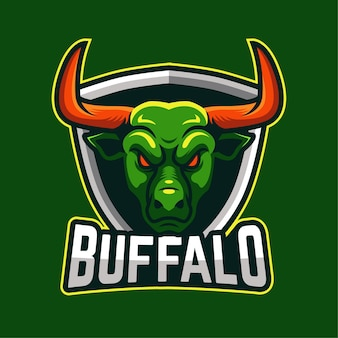 Buffalo e-sport maskottchen charakter logo